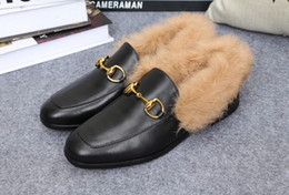 sale! U499 40 GENUINE LEATHER HORSEBIT FUR FLATS SHOES LOAFER g luxury designer rabbit hair black runway