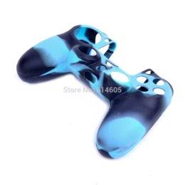 Promotion contrôleur ps4 couvercle du boîtier Bleu de protection en silicone Soft Gel Housse Etui Sleeve pour Sony PS4 Controller couvercle support électronique manchon