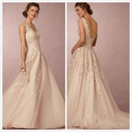 Wholesale 2016 autumn winters BHLDN antique lace wedding dress unbacked V neck sweep train chiffon beach wedding dress custom plus size wedding dress