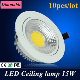 10X High power Dimmable Led Downlight square cob Ceiling AC85-265V 15W ceiling recessed Lights Warm Cool White Indoor Lighting