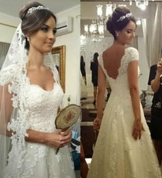 2017 Latest Wedding Dresses With Cap Sleeves Lace Appliques Low Back 2016 Plus Size Bridal Gowns White   Ivory Vintage Wedding Gowns Cheap