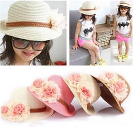 Baby Flower Caps Baby Hat Kids Straw Fedora Hat Girls Sun Hat Children Summer Hat Jazz Cap Two flower sun hat pink beige children Beach Hat