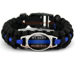 Wholesale MY HERO WEARS BLUE Police Lives Matter Thin Blue Line Paracord Survival Logo For Police Man Bracelet Metal Clasp Parachute Rope Bangles