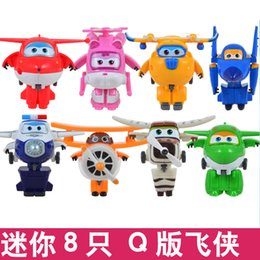 Wholesale 8pcs Set Super Wings Mini Airplane Robot baby toys Action Figures Super Wing Transformation Animation for Children Kids Gift