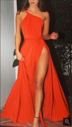 Wholesale Fashion Orange Prom Dresses Evening Wear One Shoulder Pleats High Leg Split Draped Chiffon Formal Celebrity Runway Gowns Cheap
