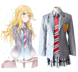 Canada Gros-Anime Votre Lie en Avril Fille Shool Uniforme Cosplay Costume Miyazono Kaori Full Set Dress (veste + shirt + jupe + Tie) Offre