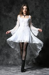 Wholesale White Dark In Love Gothic Ghost Dovetail Lace Prom Evening Dress Front Short and Long Back Illusion Sleeves Square Neckline with Button