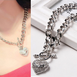 New Hot I love You Ladies Jewelry With diamonds 925 Silver Statement Necklaces For Women Heart Shaped Necklace Pendants Jewelry Wholesale