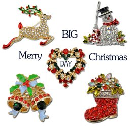 Wholesale New pins brooches Crystal Boots Snowman sleigh bells brooches Unisex Pins for Christmas gift