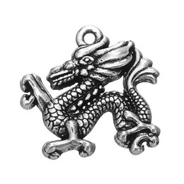 Wholesale My Shape Zinc Alloy Antique Silver Plated Chinese Traditional Dragon Symbol Charms Pendant for Necklaces