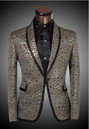 2017 trajes de la astilla 2016 nueva venta caliente Ropa de la marca de Lastest Hombres Blazer de oro de la astilla de la Escala Diseño Slim Fit se adapta a la fiesta de la boda del smoking Tamaño Blazer XS-6XL trajes de la astilla promoción