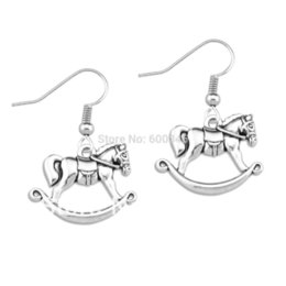 Wholesale Latest made wood horse pendant earring antique silver plated pair