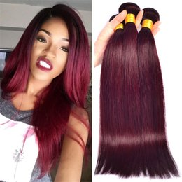 3Pcs Lot Malaysian Wine Red Human Hair Extensions Silk Straight Pure Color 99J Burgundy Malaysian Human Hair Weave Bundles