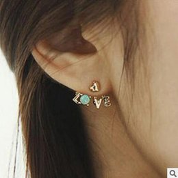 Love Letter Earrings Stud Fashion Diamond Crystal Love Letter Heart Ear Cuff Stud Earring For Women