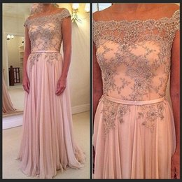 Wholesale Evening Dresses Party Long Pink CHiffon Boat Neck Prom Dresses Beaded A Line Formal Gowns Long Robe Bal De Promo