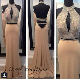 Free Shipping Sparkly Prom Dress New Arrival 2 Two Piece High Neck Beaded Long Backless Prom Gown Evening Stunning Vestidos De Fiesta