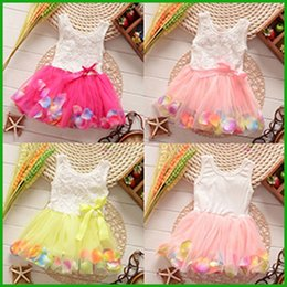 baby girls gown dresses rose tulle red pink yellow flower petal children vestidos fast free shipping