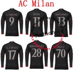 Wholesale long sleeve AC MILAN JERSEY MENEZ ADRIANO BACCA NIANG ROMAGNOLI MONTOLIVO thai quality soccer jerseys thailand football jerseys kits