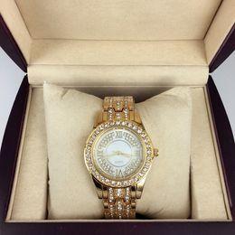 Regarder rose d'or en Ligne-Montre femme de luxe de mode avec diamant Or rose / or Montre dame en acier inoxydable Bracelet montre-bracelet Marque horloge femelle Livraison gratuite