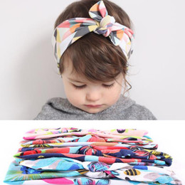 4 Colors Floral Bunny Ears Knots Headwrap Baby Head Bands Headband Kids Elastic Flowers Headwear Children Hairband Hair Accessories