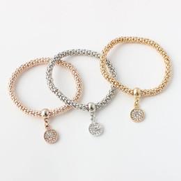 Newest Bracelets for women Simple hollow carved tri-color bracelets music diamond circle popcorn bracelets free shipping