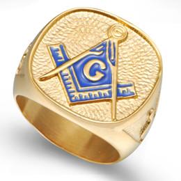 Size 7-15 18K Gold Plated Blue Stainless Steel Masonic Ring Signet Knights Templar Freemason Punk Biker Husband Christmas Gift