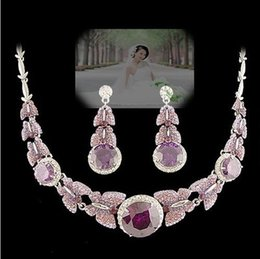 colorful diamond flower set wedding bride necklace earings (spwhy) teterte