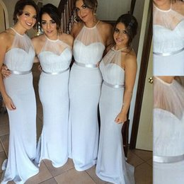 Bridesmaids Dresses Long Gowns 2016 Light Sky Blue Mermaid Halter With Sash Vintage Maid Of Honor Dress