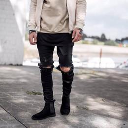 Top kanye west represent mens european clothing men light blue black designer rock star Hole ripped skinny distressed jeans