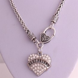 Wholesale Best price High Quality rhodium plated zinc studded with sparkling crystals BEST FRIEND heart pendant wheat link chain necklace
