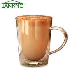 JANKNG 1 Pcs Clear Handmade Double Wall Glass Cups 250mL Heat Resistant Glass Tea Cups and Mugs Coffee Travel Cups Glassware