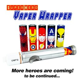 Wholesale Superman Batman Captain America Battery PVC mm Skin Hero Sleeve Shrinkable Tubing Wrap Heat Shrink Re wrapping batteries DHL