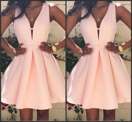 Wholesale 2016 Pink Short Cocktail Dresses V neck Backless Stain Mini Stain Ruffles Prom Party Dress Custom Made Special Occasion Gowns