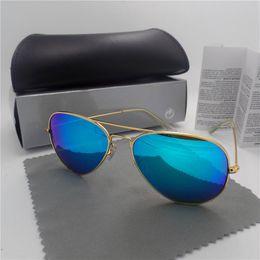 Wholesale 2016 Polarized Sunglasses High Quality Driveing Mirror Eyewear Male Sun Glasses Women Pilot Brand Lunette De rainbow mirror have glasses cas