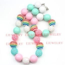 fashion jewelry colorful stripe beads pink&blue acrylic beads white pink rhinestone beads chunky girl bubblegum kids Necklace&bracelet set