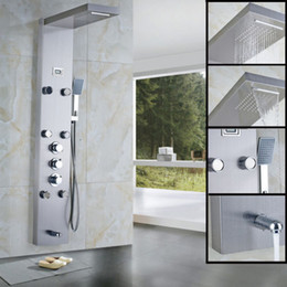 Wholesale And Retail Promotion Thermostatic Brushed Nickel Shower Panel With Massage Jets ABS Hand Shower
