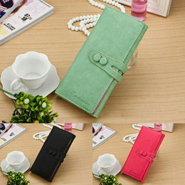 Shipping Button Solid PU Leather Women Casual Long Zip Sweet Clutch Stylish Hard Korean Card Holder Purse Pink Blue Red