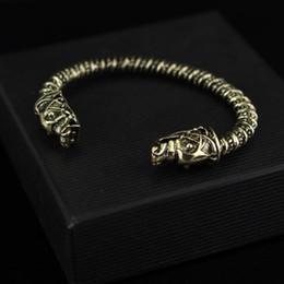 Wholesale New design Wolf Head Bracelet two Headed Wolf Fenrir Viking Logo Mens Bracelet Jewelry For Fans Best Gift