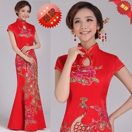 Wedding cheongsam retro sexy slim tail Chinese long short sleeved dress Qp1826