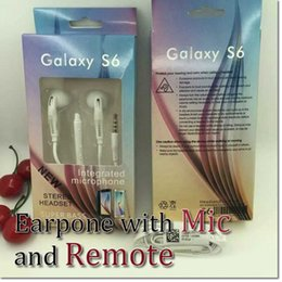 Wholesale For Iphone Galaxy S6 Earphones Headphone mm earphone In Ear Headphones from Vietnam With Mic and Remote For samsung s6 with package