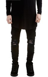 designer Brand new men black jeans skinny ripped Stretch Slim fashion hip hop swag man casual denim biker pants overalls Jogger