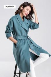 MONCANO 2017 autumn and winter new fashion cashmere coat women medium long coat loose edition 68007