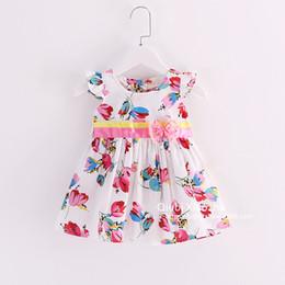 Fashion Hug Me Baby Girls Tutu Summer Floral Printed Dresses Childrens Kids Clothing New Party Flower Dress