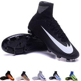Wholesale Mercurial Superfly V FG Mens Soccer Boots Cleats ACC womens Football Shoes Kids cr7 adizero blue assassin
