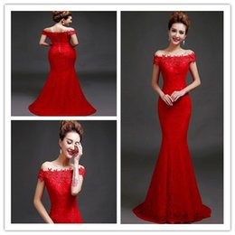 The new red word shoulder mermaid formal Evening Dresses lace applique floor length robe 2016 Prom Pageant Evening dress plus size