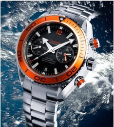 Wholesale-Luxury New James Bond 007 Automatic Black Dial Orange Bezel Stainless Bracelet High Quality Mens Watch Men Sport Watches