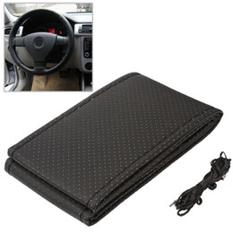 Wholesale 1PC DIY Car Steering Wheel Cover With Needles and Thread Artificial leather Gray Black HA10328