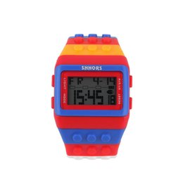 Wholesale Womens LCD Digital Watch Sports Digital Colorful Block Brick Style LCD Digital Wrist Watch worldwise New Sale