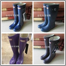 Wholesale Hunter Boots Women Wellies Rainboots Ms Glossy Hunter Wellington Rain Boots Wellington Knee Boots cold resistant comfortable shoes