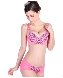 Wholesale Body Slimming Sexy embroidery massage comfortable Underwear adjustable push up breathe freely side adduction bra set with convertible straps